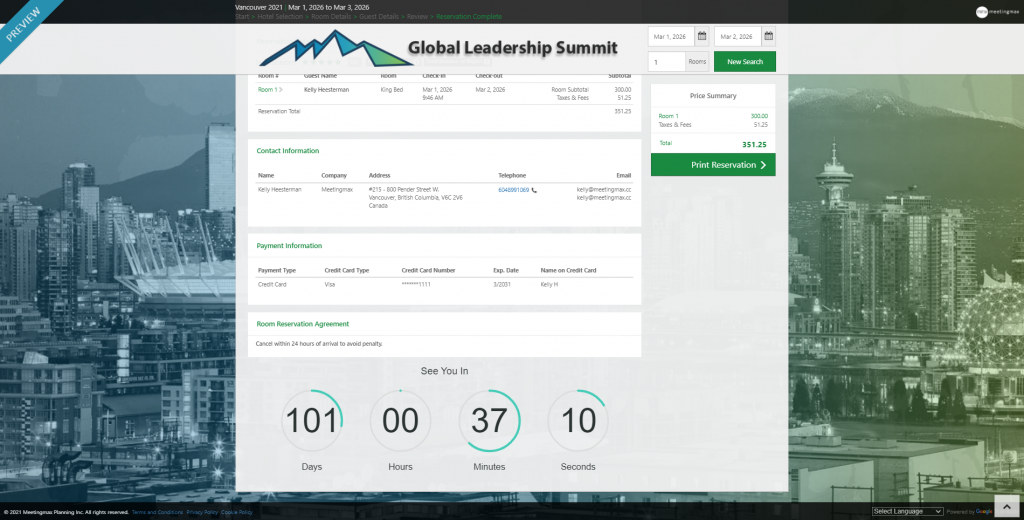 Example of embed event countdown